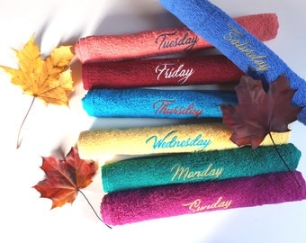 Days of the Week Towels / Dishcloth / Dish Towels / Kitchen Towel / Tea towel / Make up Cloth / Gift Set / Embroidered Towel