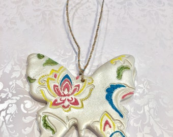 Polymer clay Paisley print snow flake,ornaments,collector item,handmade,Christmas gifts