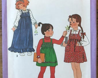 UNCUT Girl's Jumper Dress and Blouse Sewing Pattern Simplicity 8712 Size 4 Party Dress, Back to School, Easy Dress, Beginners Pattern