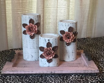 Wooden Candleholders (set of 3) White with Pink Flowers