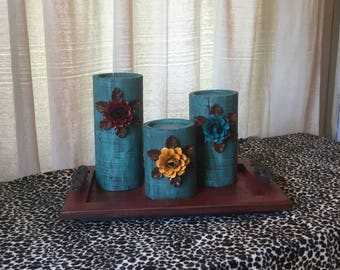 Wooden Candleholders (set of 3)  Aqua Glaze with Red, Mustard and Turquoise Flowers