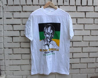 Vintage NELSON MANDELA Shirt Size L Large 100% Cotton made in usa civil rights black history south africa apartheid