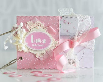 Pink Baby Memory Book, Baby Girl Diary Memory Book, Custom Baby Book, Personalised First Year Baby Book