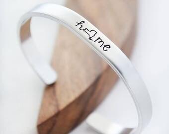 New York Jewelry - Home State Bracelet - New York Home State Jewelry - Hand Stamped Cuff Bracelet - Silver Cuff Bracelets for Women NYC