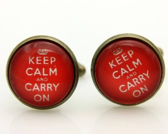 Cufflinks keep calm and carry on