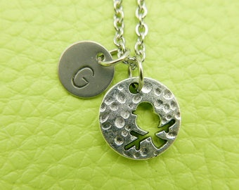 Bird Initial Necklace Monogram Stainless steel chain