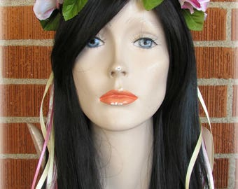 Rose Flower Crown, Floral Crown, Flower Halo, Flower Headband, Floral Headband, Flower Wreath, Wedding Crown, Bridal Headband, Festivals