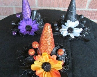 Mini Witch Hat Headbands, Mini Witch Hair Clips, Halloween Hairpieces, Witch Hat, All Ages, Halloween, Costume Accessory, Fall, Photo Prop