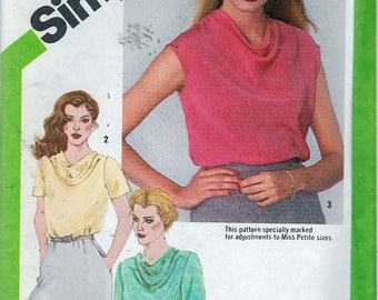Vintage 1980 Simplicity 9765 Blouse With Front Sewing Pattern Size 12 Bust 34""