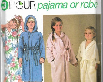"Vintage 1992 Simplicity 8090 3Hour Pajama Or Robe Sewing Pattern Size BB 5-6-6X Breast/Chest 24""-25""-25 1/2"" UNCUT"