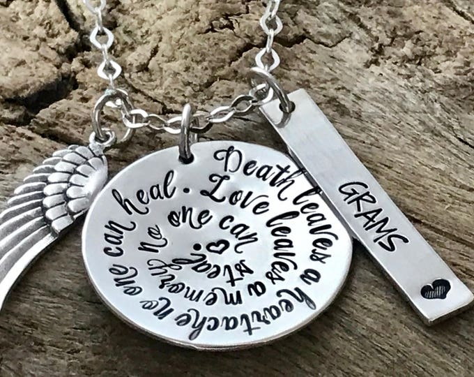 """Memorial Jewelry   Memorial Gift   In Memory Of   """"Death leaves a heartache no one can heal Love leaves a memory no one can steal"""""""