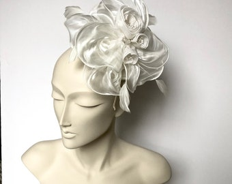 Ivory Off White  Kentucky Derby Fascinator Ivory Blue Easter Hat Ivory Church Hat