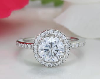 Moissanite Engagement Ring Diamond Halo Thin and Petite Band