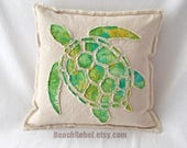 """Sea turtle pillow cover batik applique in green and yellow tie dye and natural unbleached distressed denim boho pillow cover 18"""""""