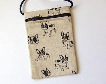 "Pouch Zip Bag FRENCH BULLDOG Fabric.  Great for walkers, markets, travel. Cell phone pouch. small fabric purse. terrier puppies 6.5""x4.25"""