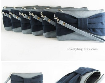 SUPER SALE - Set of 5 Wedding Clutches, Bridesmaids Clutches / Gray with Navy Bow Clutches - Made To Order