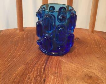 Small blue glass mid century vase