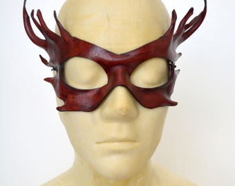 Horned Wood Fairy Sprite Burgundy Brown Leather Cosplay Masquerade Fancy Dress Mask
