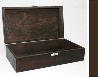 Wooden Keepsake Box / Dark Brown Box / Jewelry Box  / Storage Box  / Gift Box / Wooden Box 11.41 x 5.70 x 2.95 inch