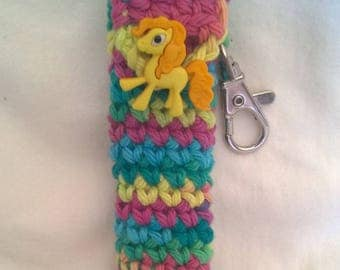 Rainbow Pony Lip Balm Holder, Chapstick Case, Rainbow Keychain, Pony Lip Balm Holder, Stocking Stuffer, Christmas Gifts for Her