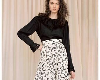 romantic vintage 70s/80s CASELLI Italian black frill lace ruffle neck sleeve blouse