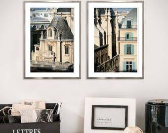 Paris Architectural prints Large Paris print set Large Wall art set of 2 prints 2 piece wall art beige black Large Diptych 24x36 photography