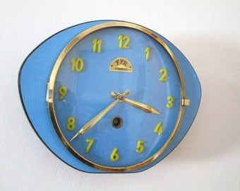 French Mid-Century Atomic Age FFR Wall Clock, Bright Blue Formica Clock, Funky Shape, Perfect Working Condition