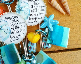 Mightier than the waves of the sea is His Love for you. Psalm 93.4 summer beach inspirational planner /bible journaling jumbo paper clip