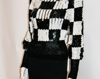 Black & White Checkerboard Sequin 1980s Top by Nanell