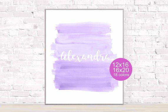 Lavender Nursery Poster with Custom Name in 18 Colors, 12x16, 16x20