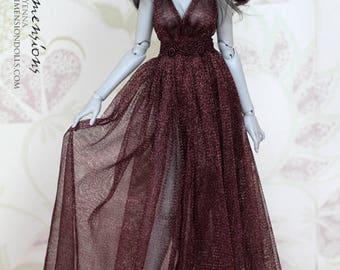 Brown sparkly dress -for 1/4 slim mini bjd