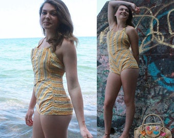 1 Piece SwimSuit CATALINA Vintage Yellow MICRO FLORAL Striped Print PlaySuit Sunny Sunflower 50s Retro Bombshell Woman's Small Suit Size 10