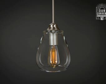 Pendant Light Fixture | Edison Bulb | Brushed Nickel | Pendant | Kitchen Light | Pendant Light |  Edison Light Bulb | Pear Shade