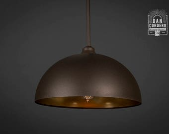 Pendant Light Fixture | Edison Bulb | Oil Rubbed Bronze | Pendant | Kitchen Light | Pendant Light | Edison Light Bulb | Gold | Dome Shade