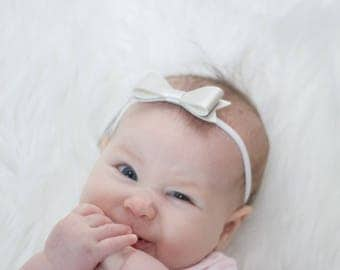 Baby Girl Headband - Faux Leather Headband - Newborn Bows - Baby Bow Headband - Faux Leather Bow - Coming Home Headband - New Baby Headband