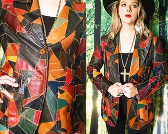 1970s Montgomery Ward Multi Color Geometric Patchwork Leather Festival Blazer Jacket