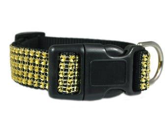 "Gold Rhinestone Dog Collar 5/8"", 3/4"", 1"", 1.5"" Black Dog Collar Buckle or Martingale Styles"