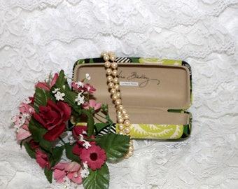 Vera Bradley Eye Glasses Case  - La Neon Rose - Green Black White  - Retired Pattern