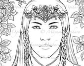 Elven Prince - digital stamp, colouring page, printable, instant download