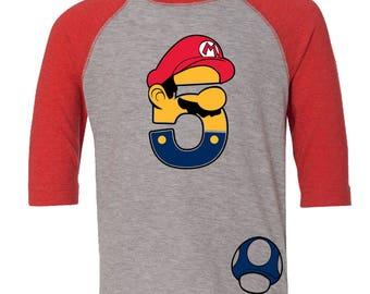 Custom MARIO Inspired birthday shirt MARIO Birthday Shirt with Name on Back Birthday Shirt