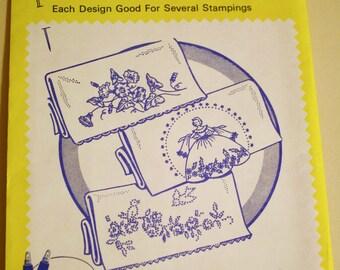 Aunt Martha's Hot Iron Transfers 3285 Morning Glory Pillow Slip, Vintage Embroidery Pattern, Linen Motifs