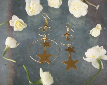 Mixed Earrings - Gold Star and Hoop Earrings
