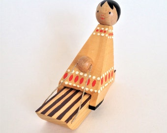Vintage Erzgebirge Indian Girl on Sled, Wood Christmas Display, Cute Holiday Decor, Rustic Organic Colors