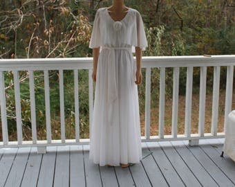 Vintage Evening Dress White Gown Mike Benet 70s Greek Goddess Old Hollywood