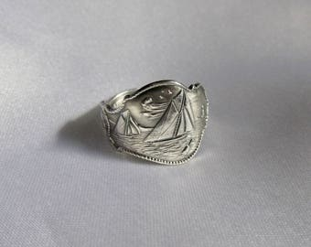 Sailboat Spoon Ring Small Delicate Sterling Ring Rare Pattern Circa 1900 Nautical Ocean Summer Jewelry