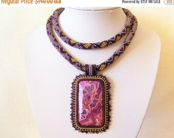 15% SALE Statement Beadwork Bead Embroidery Pendant Necklace with Purple Lace Agate - PURPLE EARTH - violet, purple and brown modern necklac