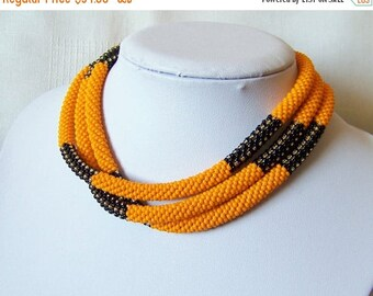 15% SALE Orange and black long beaded crochet rope necklace - Geometric necklace - classic jewelry - seed bead necklace - statement necklace