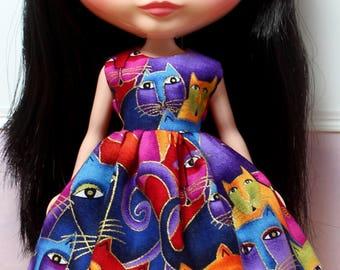 BLYTHE doll Its my party dress - Laurel Burch rainbow cats
