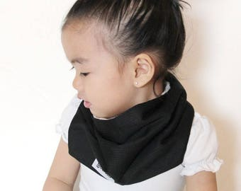 "Modern Bib (Refined Black) All in One Scarf & Bib ""Scabib"" TM for babies or toddlers"