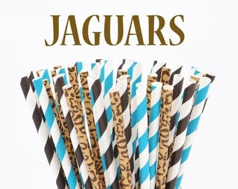 FOOTBALL Game day PARTY Paper Straws assorted 30 JAGUARS Black, Teal and Jaguar Print - Tailgating - Game Day - Homecoming